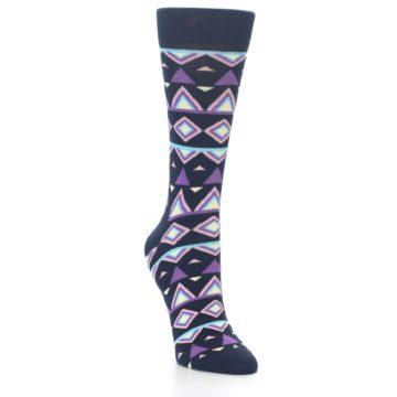 Image of Navy Purple Temple Pattern Women's Dress Socks (side-1-front-02)