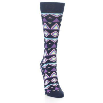 Image of Navy Purple Temple Pattern Women's Dress Socks (side-1-front-03)