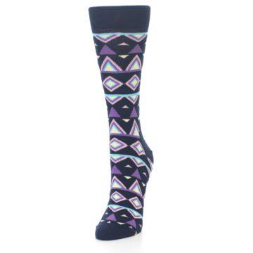 Image of Navy Purple Temple Pattern Women's Dress Socks (side-2-front-07)