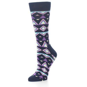 Image of Navy Purple Temple Pattern Women's Dress Socks (side-2-09)