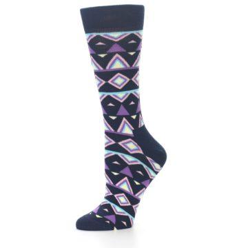 Image of Navy Purple Temple Pattern Women's Dress Socks (side-2-10)