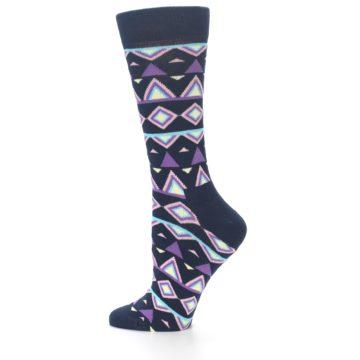 Image of Navy Purple Temple Pattern Women's Dress Socks (side-2-12)
