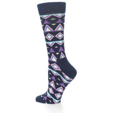 Image of Navy Purple Temple Pattern Women's Dress Socks (side-2-13)