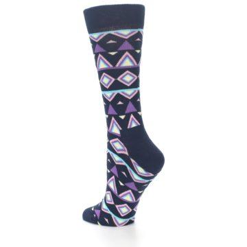 Image of Navy Purple Temple Pattern Women's Dress Socks (side-2-back-14)