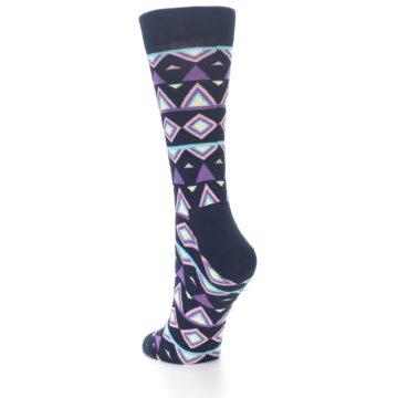 Image of Navy Purple Temple Pattern Women's Dress Socks (side-2-back-15)