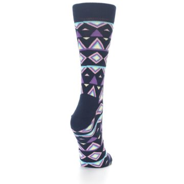 Image of Navy Purple Temple Pattern Women's Dress Socks (side-1-back-20)
