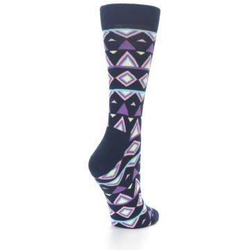 Image of Navy Purple Temple Pattern Women's Dress Socks (side-1-back-21)