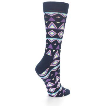 Image of Navy Purple Temple Pattern Women's Dress Socks (side-1-back-22)