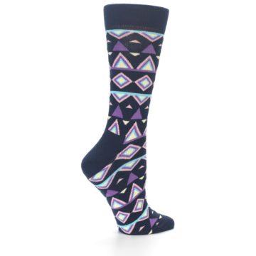 Image of Navy Purple Temple Pattern Women's Dress Socks (side-1-23)