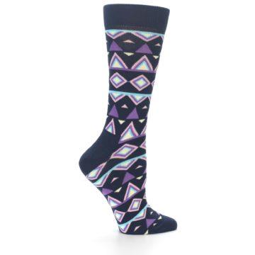 Image of Navy Purple Temple Pattern Women's Dress Socks (side-1-24)