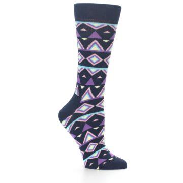 Image of Navy Purple Temple Pattern Women's Dress Socks (side-1-26)