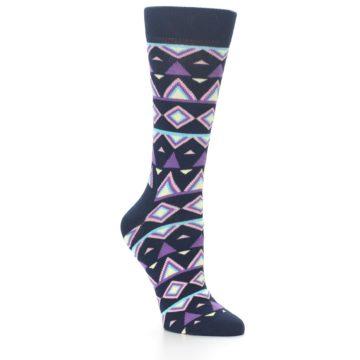 Image of Navy Purple Temple Pattern Women's Dress Socks (side-1-27)