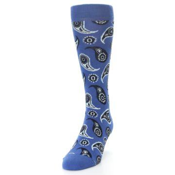 Image of Blue Paisley Men's Dress Socks (side-2-front-06)