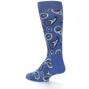 Image of Blue Paisley Men's Dress Socks (side-2-back-14)