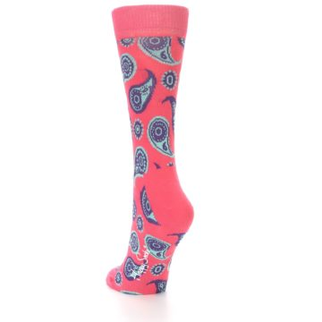 Image of Pink Aqua Paisley Women's Dress Socks (side-2-back-15)