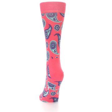 Image of Pink Aqua Paisley Women's Dress Socks (side-2-back-16)