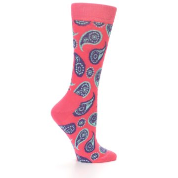 Image of Pink Aqua Paisley Women's Dress Socks (side-1-23)