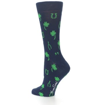 Image of Navy Green Lucky Women's Dress Socks (side-2-13)