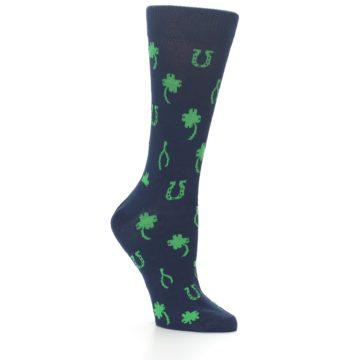 Image of Navy Green Lucky Women's Dress Socks (side-1-26)