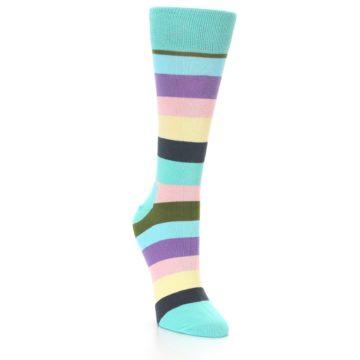 Image of Blue Pastel Multi Stripe Women's Dress Socks (side-1-front-02)