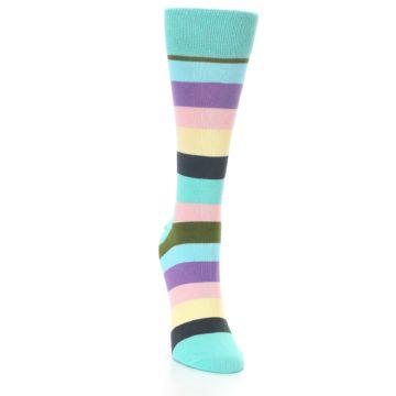 Image of Blue Pastel Multi Stripe Women's Dress Socks (side-1-front-03)