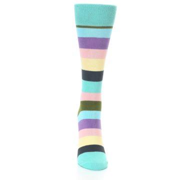 Image of Blue Pastel Multi Stripe Women's Dress Socks (front-04)