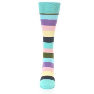 Image of Blue Pastel Multi Stripe Women's Dress Socks (front-05)