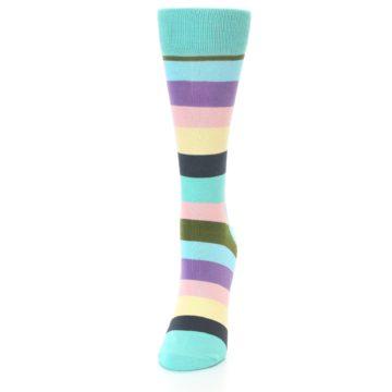 Image of Blue Pastel Multi Stripe Women's Dress Socks (side-2-front-06)