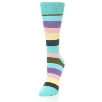 Image of Blue Pastel Multi Stripe Women's Dress Socks (side-2-front-07)