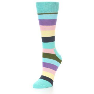 Image of Blue Pastel Multi Stripe Women's Dress Socks (side-2-front-08)