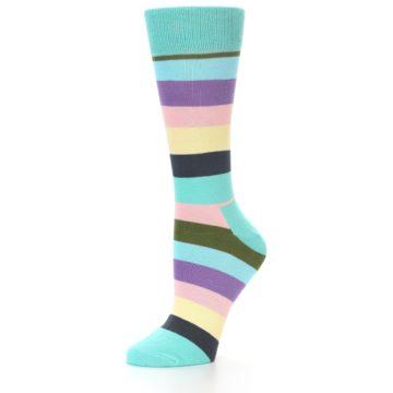 Image of Blue Pastel Multi Stripe Women's Dress Socks (side-2-09)