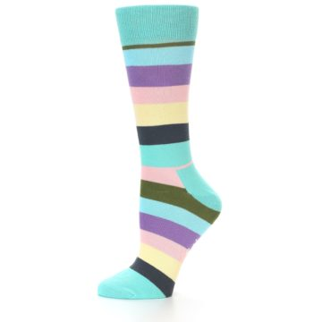 Image of Blue Pastel Multi Stripe Women's Dress Socks (side-2-10)