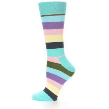 Image of Blue Pastel Multi Stripe Women's Dress Socks (side-2-11)