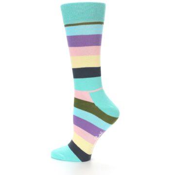 Image of Blue Pastel Multi Stripe Women's Dress Socks (side-2-12)