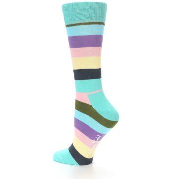 Image of Blue Pastel Multi Stripe Women's Dress Socks (side-2-13)