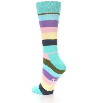 Image of Blue Pastel Multi Stripe Women's Dress Socks (side-2-back-14)
