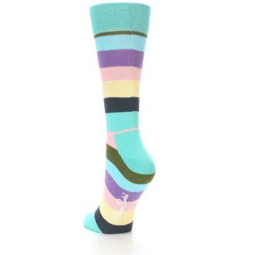 Image of Blue Pastel Multi Stripe Women's Dress Socks (side-2-back-15)