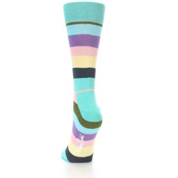 Image of Blue Pastel Multi Stripe Women's Dress Socks (side-2-back-16)