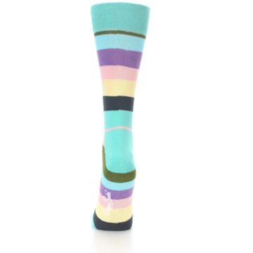 Image of Blue Pastel Multi Stripe Women's Dress Socks (back-17)