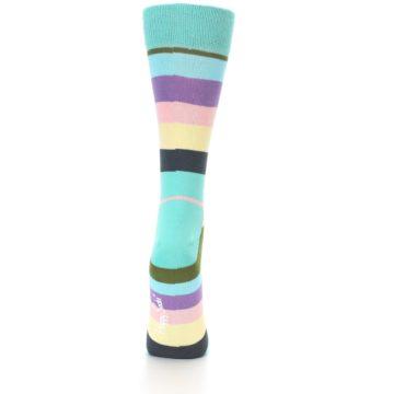 Image of Blue Pastel Multi Stripe Women's Dress Socks (back-18)