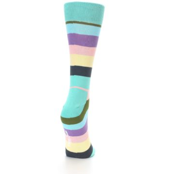 Image of Blue Pastel Multi Stripe Women's Dress Socks (back-19)