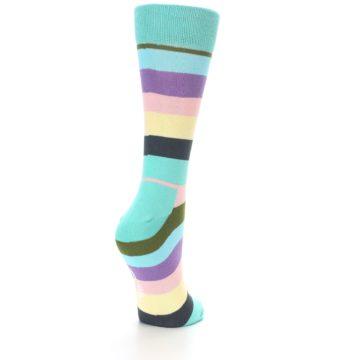 Image of Blue Pastel Multi Stripe Women's Dress Socks (side-1-back-20)