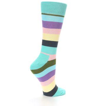 Image of Blue Pastel Multi Stripe Women's Dress Socks (side-1-back-22)