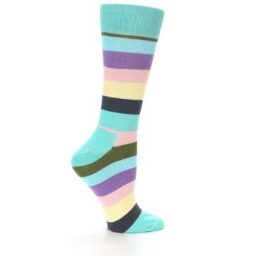 Image of Blue Pastel Multi Stripe Women's Dress Socks (side-1-23)