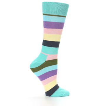Image of Blue Pastel Multi Stripe Women's Dress Socks (side-1-24)