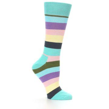 Image of Blue Pastel Multi Stripe Women's Dress Socks (side-1-25)