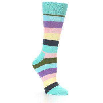 Image of Blue Pastel Multi Stripe Women's Dress Socks (side-1-26)