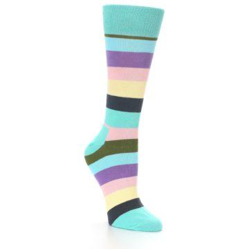 Image of Blue Pastel Multi Stripe Women's Dress Socks (side-1-27)