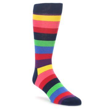 Happy Socks Extra Large Navy Multi Color Stripe Socks Big and Tall