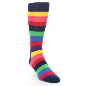 Image of Navy Multi Bright Stripe Men's Dress Socks (side-1-front-02)